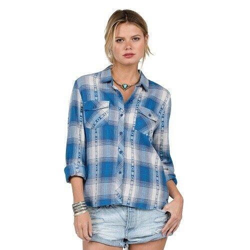 Volcom Ladies Kindling L//S Shirt Blue