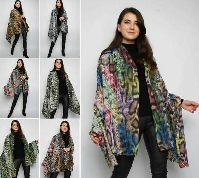 Women/'s Ladies Christmas Poncho Cape Warm Knitted Xmas Shawl Sweater Size 6-14