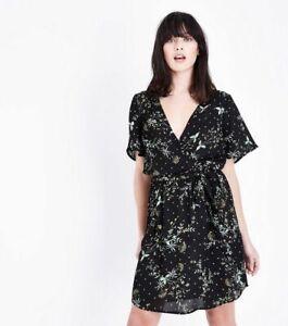 Womens-Ladies-Black-Green-Mix-Floral-V-Neck-Ditsy-Wrap-Tea-Dress-6-20