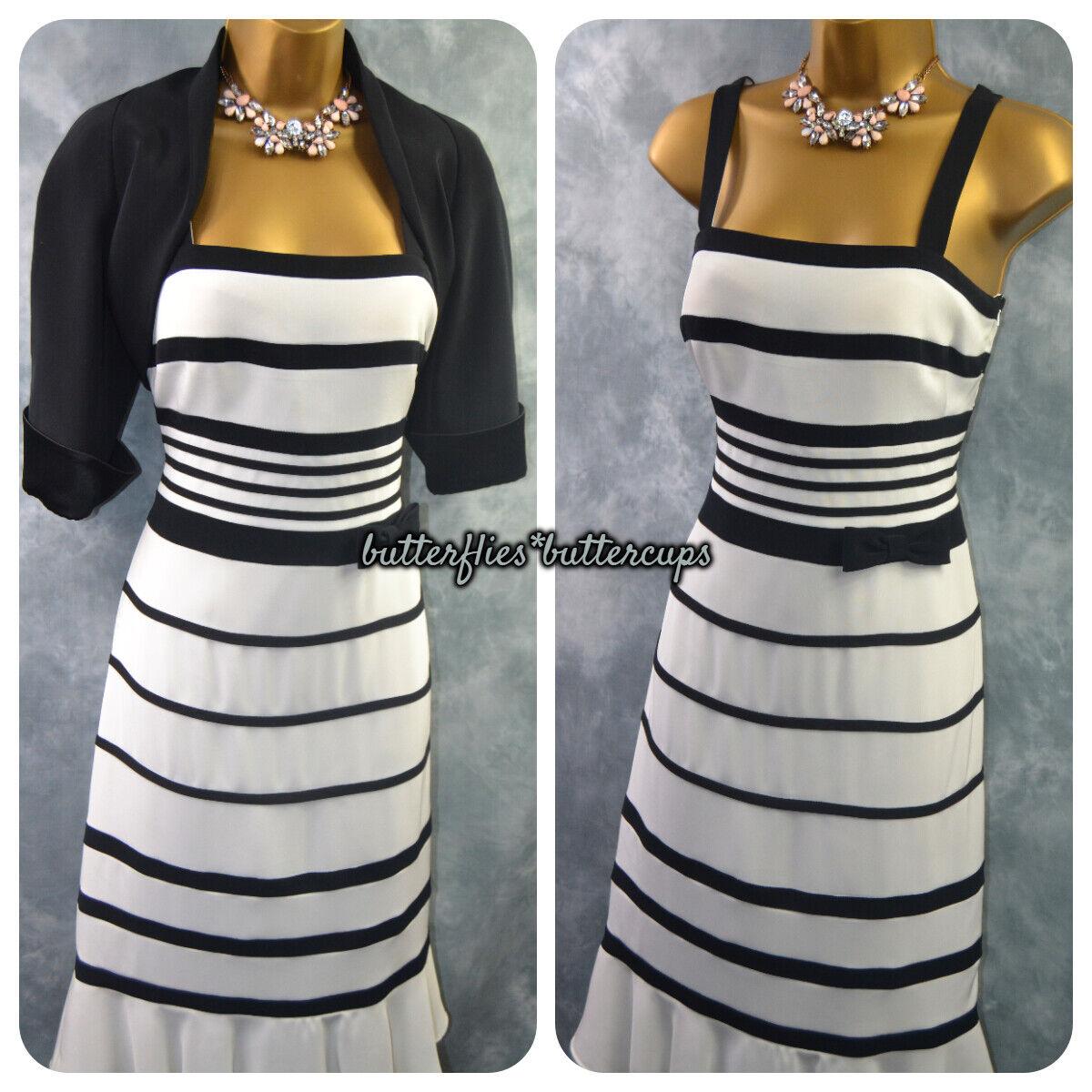 ~ DUSK FRANK USHER ~ Size 12 Black White Dress & Jacket Suit Mother of the Bride