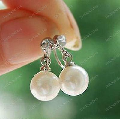 U CLIP ON comfy CREAM/WHITE PEARL DROP & CRYSTAL stud EARRINGS silver rhinestone
