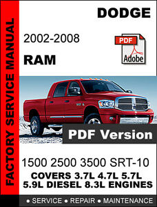 dodge ram 2002 2003 2004 2005 2006 2007 2008 factory service repair rh ebay com 2006 Dodge Grand Caravan Service Manual 1988 Dodge Dakota Service Manual