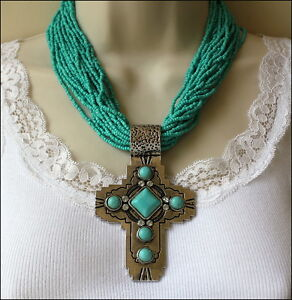 South-WESTERN-Chunky-Engraved-Cross-Turquoise-Seed-Beads-amp-Crystals-Necklace-Set