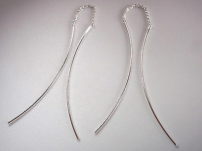 Details about  /Long Curved Bars Stud Earrings 925 Sterling Silver Corona Sun Jewelry