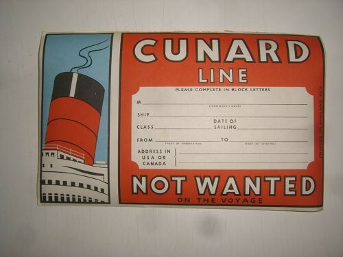 a// old Ship Compay CUNARD LINE Schiff Kofferaufkleber baggage label sticker