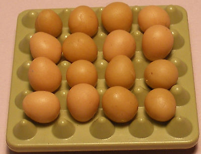 1:12 Scale 16 Loose Brown Eggs In A Plastic Tray Tumdee Dolls House Chicken