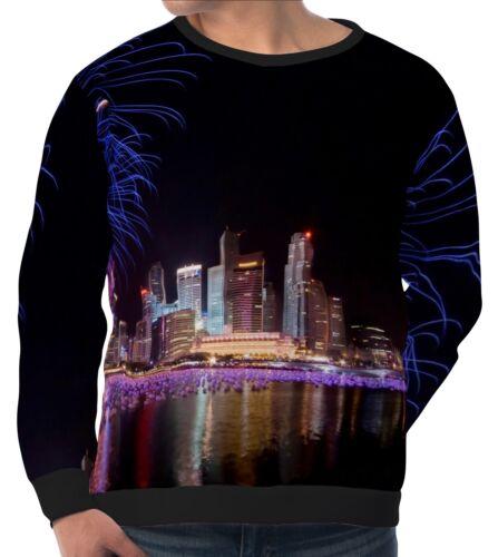City Holiday Night Sky Fireworks Herren Sweatshirt Pullover wa5 aam40983