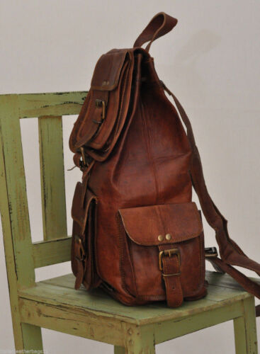 Genuine Leather Back Pack Rucksack Travel Bag For Men/'s and Women/'s Tote Bags
