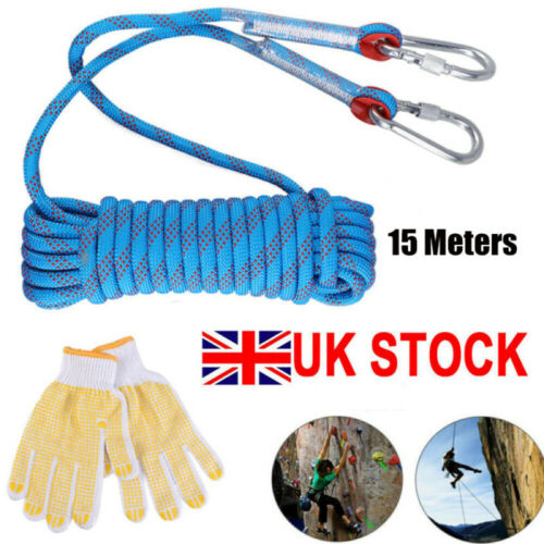 Emergency Rappelling Rock Climbing Rope Strap with Glove and Carabiners Tool Kit