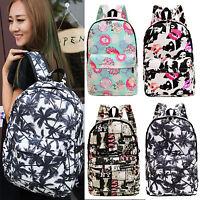 Women Men Canvas Zip Backpack Travel Rucksack School Shoulder Bag Unisex Satchel