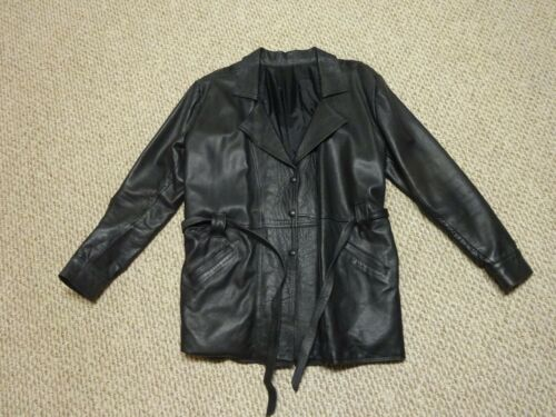 Womens Black Leather Jacket Coat Belted