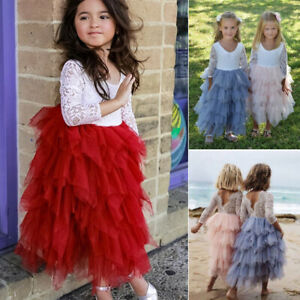 Toddler Kids Baby Girl Dress Princess Party Pageant Wedding Tutu Dresses Clothes