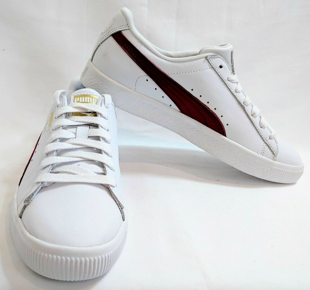 Puma homme Clyde Sneakers - blanc/Cherry/Gold - US 8, UK 7, EUR 40.5
