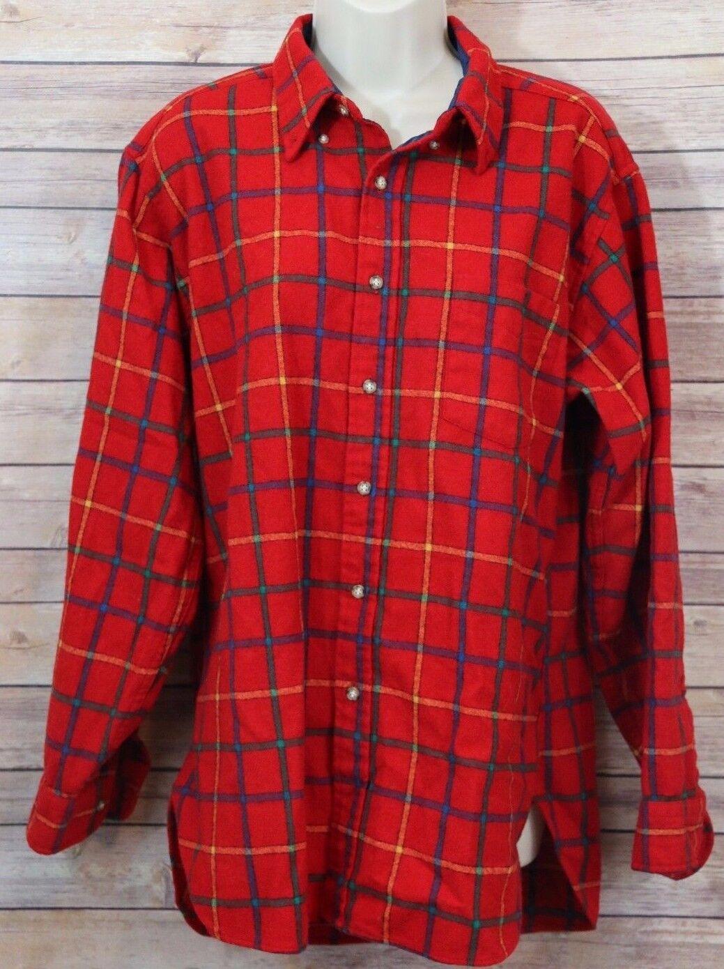 VTG Pendleton Virgin Wool Board Shirt Red Flannel Plaid 70s Size Large