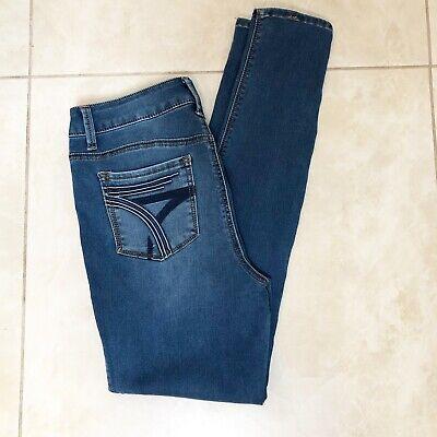 Seven7 Women High Rise Skinny Jeans Skin-Fit Spark Blue Denim Super Soft Stretch