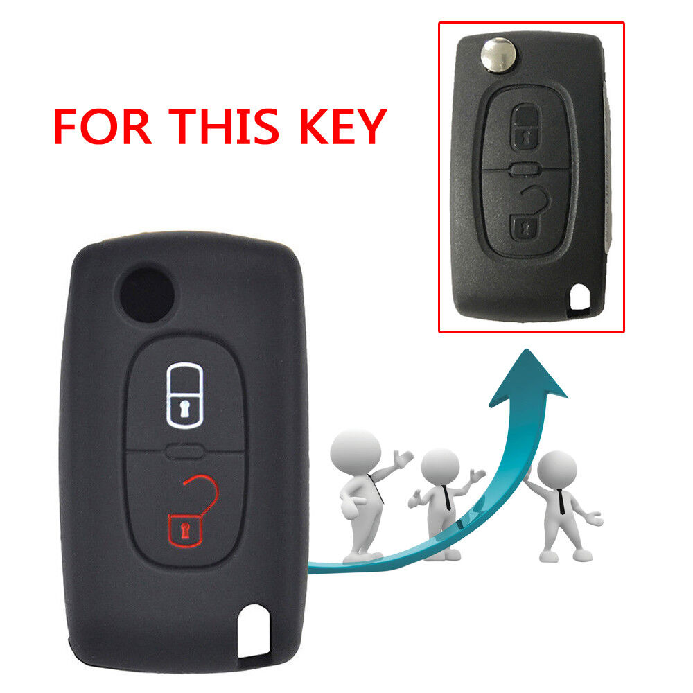 Key Soft Case Cover Peugeot Pliage Protection cl/é Pneu 208 308 5008 2008 Citroen C3 C4 Spacetourer Pliage//Couleur cl/é Noir