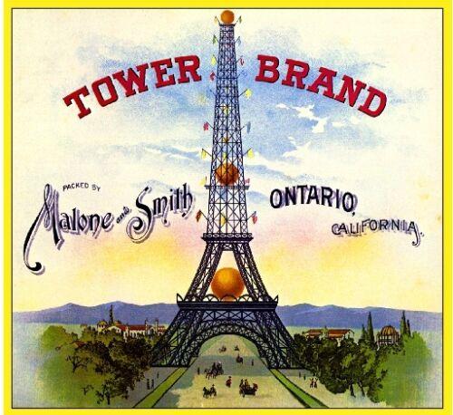 Ontario Eiffel Tower Paris France Orange Citrus Fruit Crate Label Art Print