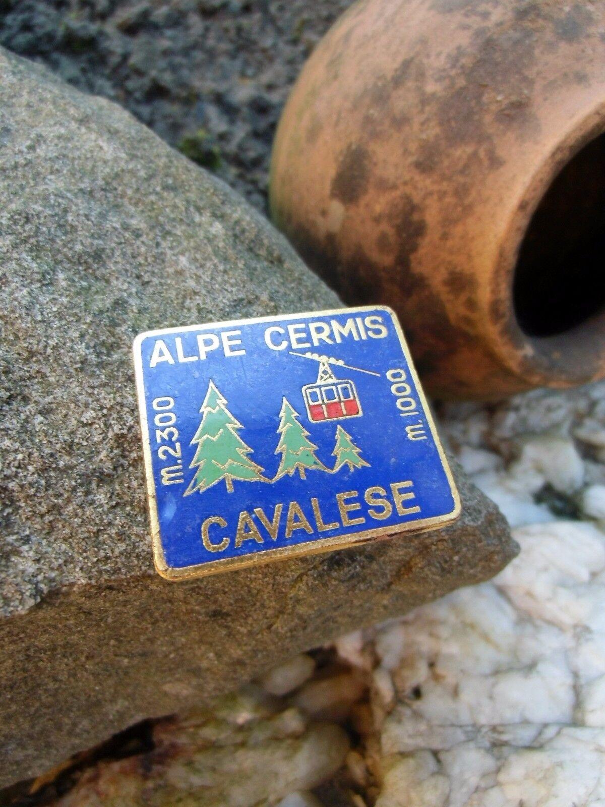Rare vintage CAVALESE Alpe Cermis  SKI 1960s-70s enamel needle Pin Badge