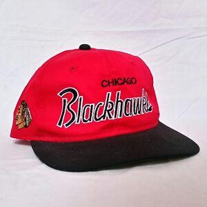 VTG-Sports-Specialties-Script-Snapback-Hat-Chicago-Blackhawks-90s-Cap-NHL-Twill