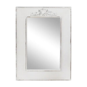 Dettagli su Specchio Muro Campagna Bianco Shabby Chic Legno con Ornamento  Antico Nostalgico