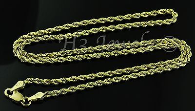 14k solid yellow gold hollow rope chain necklace italian 2.60 grams #2704 16inch