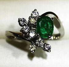 Diamond & Natural Emarld Ring Platinium, 1.30 Carat. GIA Gemologist Appraisal