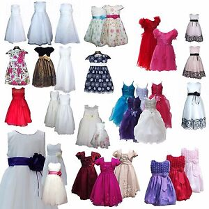 e116b79f7 Image is loading CLEARANCE-Girls -Occasion-Dress-Party-Birthday-Wedding-Flower-