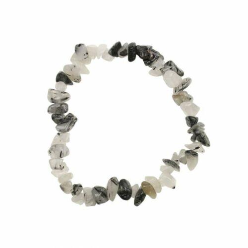 ON SALE Black Rutilated Quartz Natural Gemstone Chip Bracelet Healing Chakra =