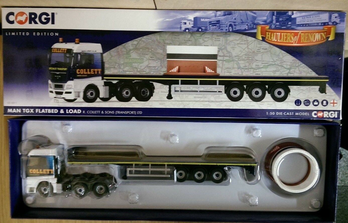 Corgi CC15211 Man TGX plano y carga R. Collett & Sons Ltd Edition no 800 de 800