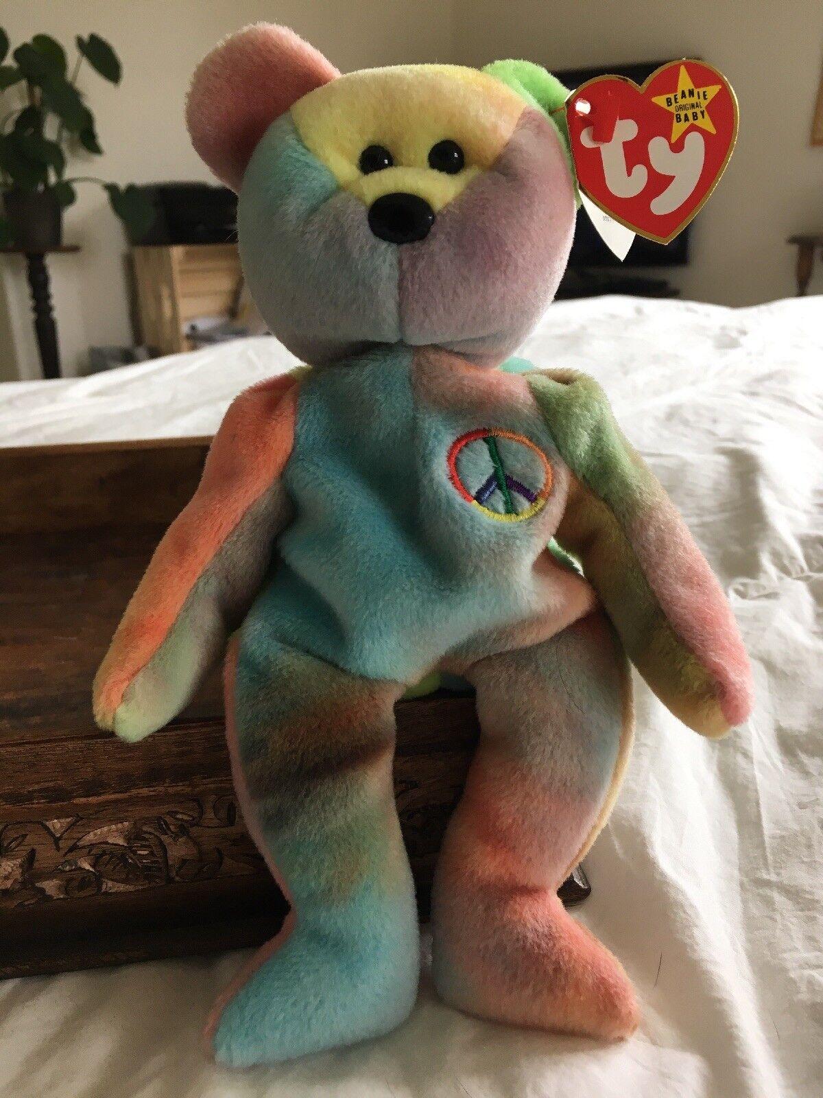 1996 Rare Retired Ty Beanie Baby Peace Bear Style 4053 PVC Pellets