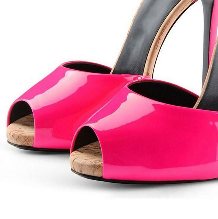WOmens Open Toe Toe Toe  High Heels Stilettos pink Red Mules Sandals patent Leather shoes d48e90