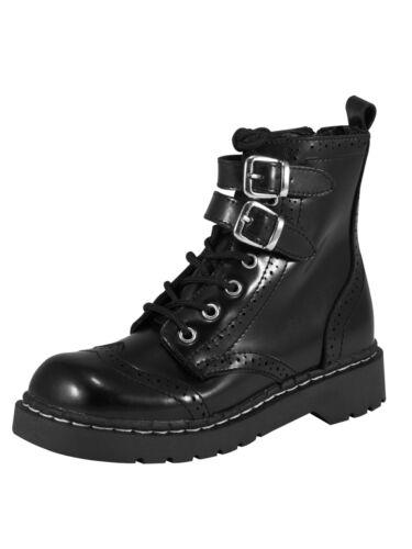 T.U.K // TUK Anarchic Stiefel Boot Budapester Schnalle Schwarz T2174  5009