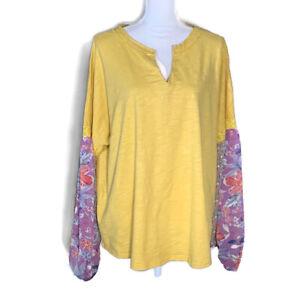 Umgee-women-039-s-top-mixed-print-shirt-boho-peasant-pullover-blouse-plus-size-2XL