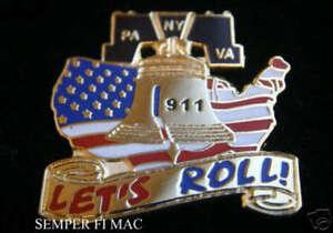 UNITED-FLIGHT-93-PA-PENTAGON-VA-WTC-911-NEW-YORK-HAT-PIN-LETS-ROLL-US-USA-WOW