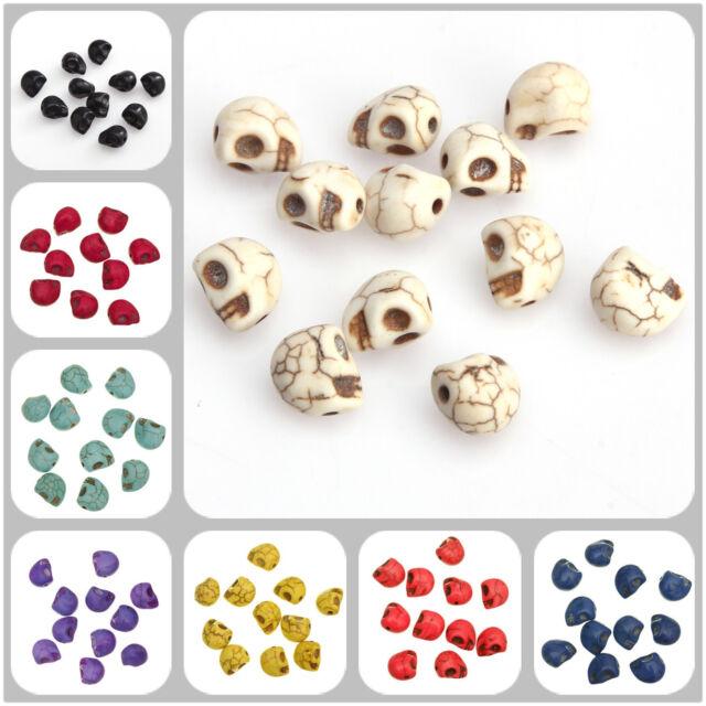 20x Perles pierre LOT CRÂNE 12x10mm perle TÊTE DE MORT Skull Bijoux Bracelet