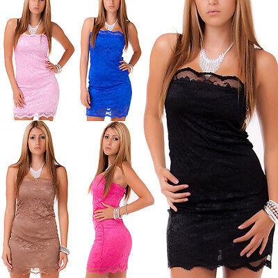 Damen Party Kleid Cocktail Minikleid Partykleid Bandeau Spitze 9 Farben S/M- M/L