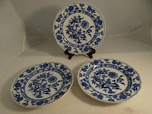 Set-of-3-Meissen-Cauldon-Place-England-Blue-Onion-Plates-8-034-Crazing