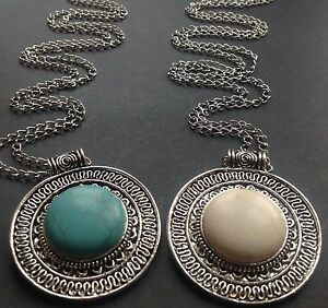 Long-Silver-Necklace-With-a-Large-Tibetan-Turquoise-Cream-Pendant