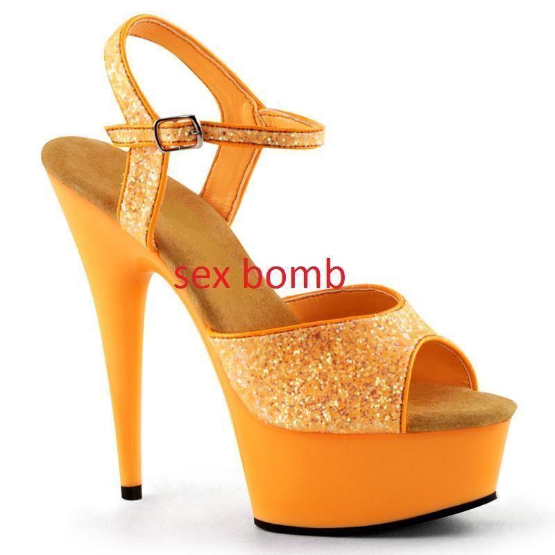 SEXY sandali FLUORESCENTI GLITTER tacco 15 plateau dal 35 al 44 ARANCIO club