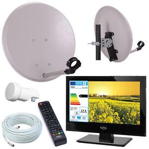 Details zu Camping TV Fernseher + SAT Anlage 40cm Spiegel mit LNB und 10m  Kabe Digital HD