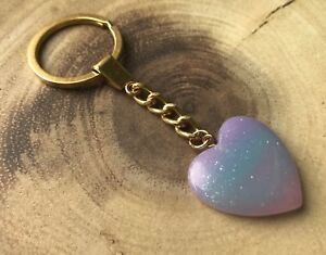 Resin-Pink-Blue-Glitter-Hearts-Charm-Keyring-New-in-Gift-Bag-Wife-Girlfriend