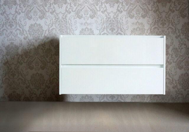 BATHROOM VANITY UNIT 900 POLYURETHANE WALL HUNG CABINET - WHITE SATIN FINISH