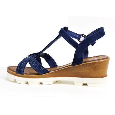 Vestido De Verano Sandalias de cuña de señoras para mujer Tacones nuevo Elaborado Con Tiras De Fiesta Zapatos Siz