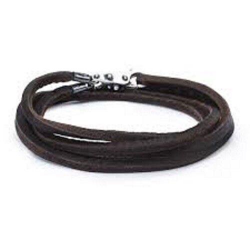 Trollbeads Double Leather Wrap Bracelet Dark Brown Size 17.7
