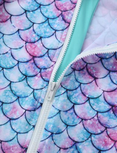 Infant Baby Girls Rash Guard Swimsuit Swimwear Mermaid Fish Scales Bathing Suit