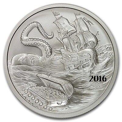 2016 ~ 1~OZ PURE .999 SILVER ROUND ~ SILVERBUG ISLAND  KRAKEN ~ $9.99 NO RESERVE