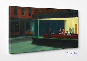 Quadro-Hopper-Nighthawks-Stampa-Fine-Art-di-Pregio-su-Tela-Vernice-Pennellate