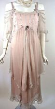 Vintage Style Pink Downton Abbey Bridal Dress XL Gatsby Victorian Formal Party