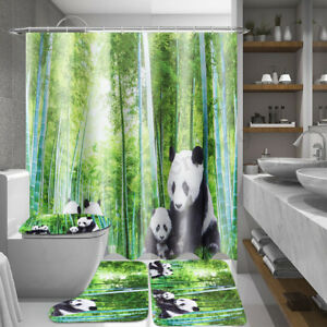 4Pcs-Panda-Bamboo-Set-Shower-Curtain-Non-Slip-Rug-Toilet-Lid-Cover-Bath-Mat