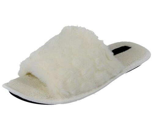 Ladies Faux Fur Peep Closed Toe Backless Slip On Mule Spa Hotel Mule Slippers
